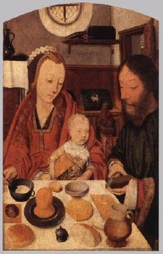 MOSTAERT, Jan (b. ca. 1475, Haarlem, d. 1555/56, Haarlem)   Click! The Holy Family at Table  1495-1500 Oak panel, 37,3 x 23,8 cm Wallraf-Richartz-Museum, Cologne  This painting looks like a genre picture but the bread and wine indicate that these are Mary, Joseph and the Christ Child.