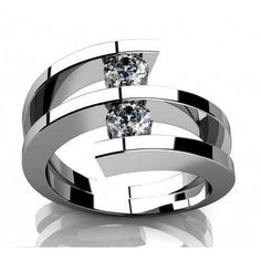060 ct Two Round Cut Diamonds Anniversary Ring in 14 kt White Gold In Size 6 *** Click image for more details.