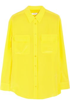 Equipment | Signature washed-silk crepe de chine blouse | NET-A-PORTER.COM #yellow