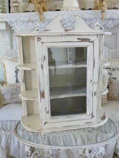 Large Vintage Country Farmhouse Wall Curio Cabinet Shelf Creamy French White