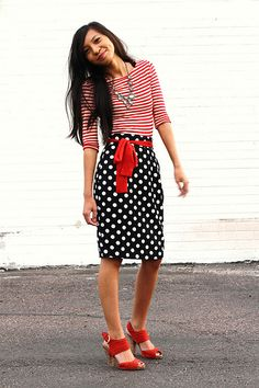 stripes and polka dots together. Prints can make an area look bigger Vs solids.