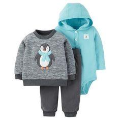e547f9b68 Baby Boys' 3 Piece Penguin Sweatshirt Set Grey/Turquoise - Just One You™
