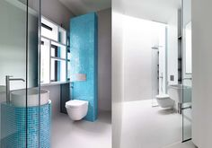 bathroom, modern, Hyla Architects, water closet, washtand, shower, blue and white, | more from Loftez