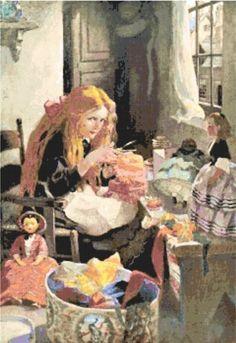 The Dressmaker ~ Children, Jessie Wilcox Smith ~ Counted Cross Stitch Pattern #StoneyKnobFarmHeirlooms #CountedCrossStitch