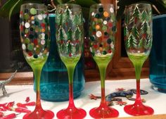 Christmas champagne flutes trees and spots hand painted glass