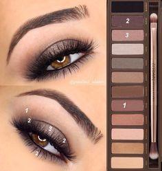 Este maquillaje es perfecto para ir a trabajar. Al solo tener sombras y rimmel, no queda un efecto de tan maquillado.  #ojo #maquillaje #mujer #naked2 #makeup #trabajo