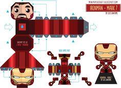 Iron Man - Mark 6 Mini Paper Toy - by Gus Santome Papercraft Box, Pokemon Papercraft, Origami Paper, Diy Paper, Paper Art, Paper Crafts, Iron Men, Avengers Crafts, Iron Man Suit