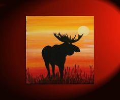 Male Moose Silhouette Painting Original Sunset Cattails Bullrushes Pond Swamp Animal Orange Yellow Art Custom 30x30. $215.00, via Etsy.