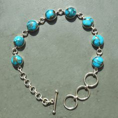 Summer Discount for all product 5% off !!!!!!!!! Classic Design Bracelet of Blue Copper Turquoise by DevmuktiJewels, $24.00