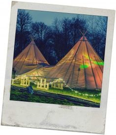 Giant event Tipis at night, Stouthall Country Mansion