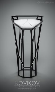 Octa Stool -Black high gloss frame with white leather seat by Novikov Designs www.novikovdesigns.co.uk