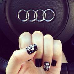 Chrome hearts nail art - most definitely doing this!