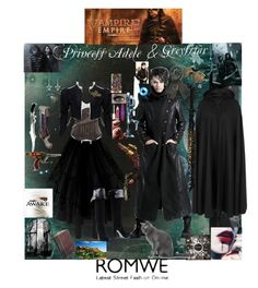 The Greyfriar by lynda-dover on Polyvore featuring Priestley's Vintage, Rochas, Yves Saint Laurent, Sergio Rossi, Gemvara, Maybelline, S.W.O.R.D. and Trilogy