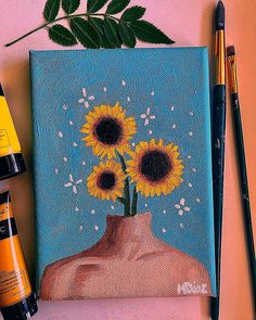 Hippie Painting Ideas 80935 she has a companion who's coming soon? Simple Canvas Paintings, Easy Canvas Art, Small Canvas Art, Easy Canvas Painting, Mini Canvas Art, Cute Paintings, Canvas Ideas, Acrylic Canvas, Painting Art