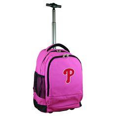 MLB Philadelphia Phillies Premium Wheeled Backpack - Pink