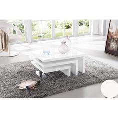 Table basse à 3 plateaux pivotants blanc laqué