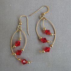 WireWrapped Earrings with Red Swarovski ♥ by DesignsbyDorris on Etsy, $30.00 #handmadejewelryearrings