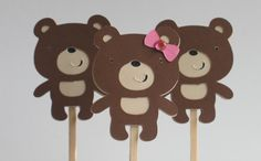 Cupcake ToppersGirl or Boy Teddy Bears by calladoo on Etsy, $10.00