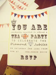 free printable  diamond jubilee tea party invites