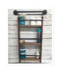 Bathroom ladder shelf, rustic bathroom shelf, industrial shelf, farmhouse shelf, cottage chic, home decor, shelf w/pipe towel bar by countrycornergoods on Etsy https://www.etsy.com/listing/255047793/bathroom-ladder-shelf-rustic-bathroom