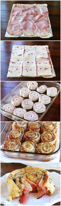 These Hot Ham & Cheese Party Rolls are so good!They are seriously so good! Diese Hot Ham & Cheese Party Rolls sind so gut! Sie sind ernsthaft so gut! Snacks Für Party, Appetizers For Party, Appetizer Recipes, Pinwheel Appetizers, Pinwheel Recipes, Quick Party Food, Cheese Appetizers, Parties Food, Christmas Appetizers