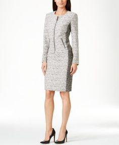 Calvin Klein Marbled Zip-Front Blazer & Marbled Pencil Skirt
