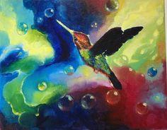 Original painting hummingbird birds water earth elemental art listed by artist #Realism