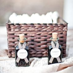 homemade Vanilla extract favors // photo by: Paige Elizabeth Photography, Denver