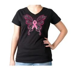Pinstripe Pink Ribbon Butterfly Ladies T-Shirt
