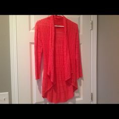 Karissa & Me coral cardigan Awesome coral color cardigan with lace type detailing. Longer in the back with small gather in the middle.  Purchased at a unique boutique Karissa & Me Sweaters Cardigans