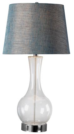 Decanter Table Lamp - Blown glass in classic proportions, Decanters sleek lines and curves sit high on a generous Brushed Steel base.