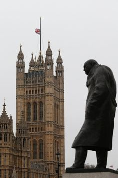 The Union flag flies at half mast above the Houses of Parliament, behind a statue of Winston Churchill, on a grey, drizzly day in London. Churchill Quotes, Winston Churchill, Cool Pictures, Cool Photos, Houses Of Parliament, Nice View, Great Britain, Funeral, Half Mast