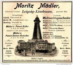 Original-Werbung/ Anzeige 1897 - KOFFER UND LEDERWAAREN MORITZ MÄDLER / LEIPZIG- LINDENAU - ca. 140 x 120 mm