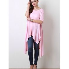 """Angel"" High Low Asymmetric Top Picture perfect asymmetrical top. This amazing piece drapes so beautifully. Available in black and pink. This listing is for the PINK. Brand new without tags. Bare Anthology Tops"