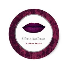 dark berry lips on faux velvet background classic round sticker - artists unique special customize presents