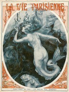 La Vie Parisienne mermaid cover La Peche aux Sirens, by Chéri Hérouard, June 1919 Alphonse Mucha, Mermaid Illustration, Illustration Art, Mermaid Tale, Mermaids And Mermen, Fantasy Mermaids, Vintage Mermaid, Illustrations, Belle Epoque