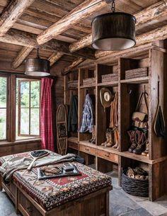 Western rustic cabin mud room