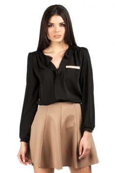 Black women's blouse with a high-gloss material
