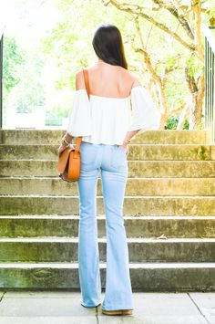 LCB Style fashion blogger // ray ban, mirrored sunglasses, aviator, apc, saddle bag, flare jeans, bell bottom, j brand, rachel pally, off the shoulder, summer fashion, michele watch, my michele story