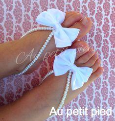 Bambino Sandali a piedi nudi fiocco bianco regalo di Aupetitpied