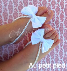 FLOWER GIRL! baby barefoot sandals white bow baptism gift by Aupetitpied, $22.00
