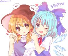 Suwako Moriya and Cirno Kawaii Chibi, Kawaii Anime, Touhou Anime, Cute Girl Illustration, Anime Sisters, Anime Child, Cool Sketches, Cute Images, Cartoon Art