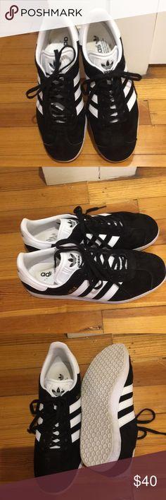 Adidas black gazelles Worn ONCE black adidas sneakers adidas Shoes