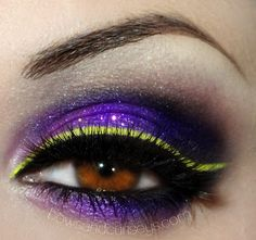 """.Bows and Curtseys...Mad About Makeup."" #smoky #eye #dramatic #eye #makeup #eyes #purple #lime #glitter"
