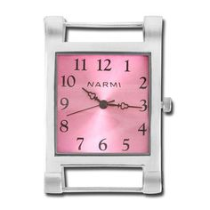 1 1/4 Inch Silver Square Pink Watch Face
