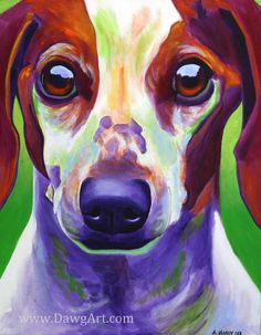 Colorful Pet Portrait Dachshund Dog Art Print 8x10 by dawgpainter, $14.00