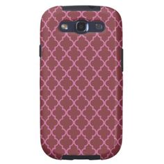Aged Cabernet And Pink Moroccan Trellis Pattern Samsung Galaxy S3 Covers