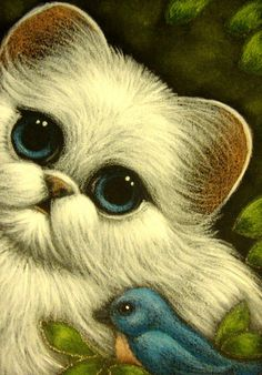 Cyra White | Paintings by Cyra Cancel White Persian Kitten Cat with Blue Bird ACEO