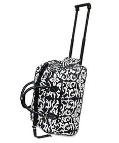 Handbag Inc Damask Floral Canvas 20 Rolling Duffel Bag with Extension Handle ** Check out this great product.