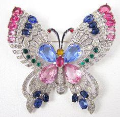 Rare Mazer Pave Multi Color Rhinestone Butterfly Pin